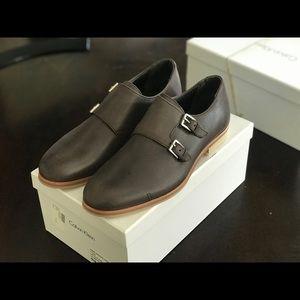 Calvin Klein DBL Monk Leather Shoes Sz 9.0 DK BRN